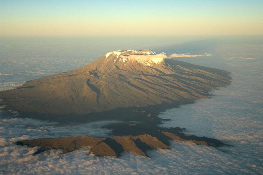 Uhuru Peak from the air